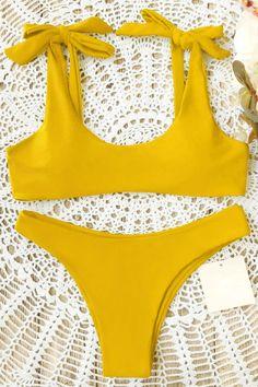 cb7983457e084 Yellow Scoop Tie Shoulder High Cut Cheeky Sexy Bikini Bathing Suit Yellow /  Xl. Swimwear ModelWomen's ...