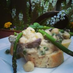 Bay Scallop Bread Pudding with Spring Peas and Mushrooms