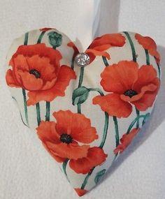 Poppy Gift / Poppy Fabric Lavender Bag / Floral Hanging Heart Gift