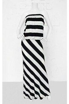#salediem #blackandwhite #springfashion  STRIPED TUBE MAXI DRESS