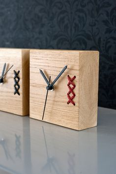 A unique embroidered wood clock. A beautiful piece for your home or office. Nice on a desk or shelf. Great gift for fathers day. Solid oak desk clock with leather embroidery.