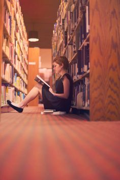 reading quietly in the library. <3