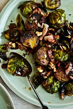 Roasted Brussels Sprouts with Bacon & Walnuts