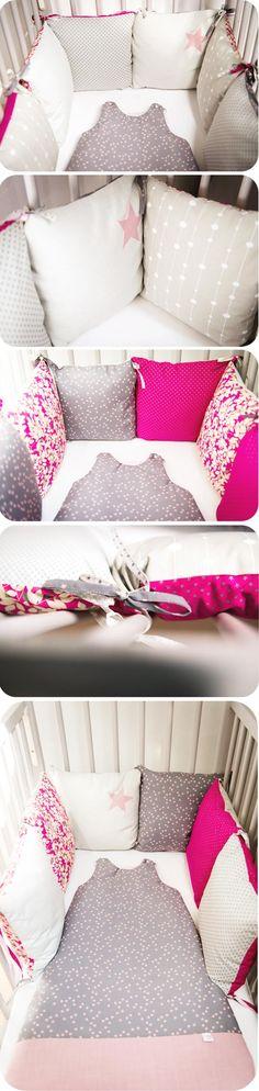 tour de lit formé de 6 coussins dans des tissus différents: trop joli!