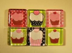 Cupcakes Refrigerator Magnets Set of 6 Refrigerator by DLRjewelry