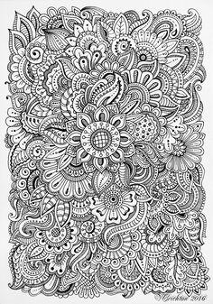 zengraphic, doodling, zendoodle flowers, pattern, графика, рисование гелевой ручкой, зендудл, паттерн_Viktoriya Crichton_Ukraine