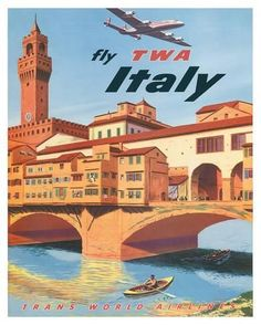Giclee Print: Fly TWA Italy, Florence, 1950s by Frank Lacano : 20x16in