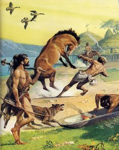 Horse taming in the Neolithic as envisioned by Severino Baraldi Panthera Leo Spelaea, Prehistoric Man, Prehistoric Creatures, Early Humans, Primitive Survival, Extinct Animals, Sword And Sorcery, Ancient Artifacts, Historical Pictures