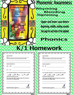 I created this homework for each letter of the alphabet and send one page home as I teach the specific letter in my Kindergarten classroom. This homework is great for differentiating as it allows more advanced students to start writing their answers from day 1 (using phonetic spelling of difficult words) and students who struggle to also experience success with proper scaffolding and an adult's guidance. Product for sale. Kindergarten Homework, Kindergarten Reading Activities, Kindergarten Rocks, Literacy, Homework Organization, Homework Ideas, Homeschooling Resources, Reading Resources, All About Me Activities