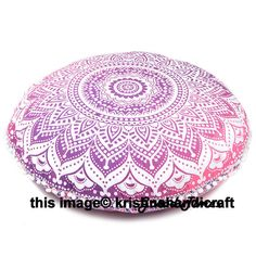Mandala Floor Pillows Round Bohemian Meditation Cushion Cover Yoga Ottoman Pouf #Handmade #ArtDecoStyle