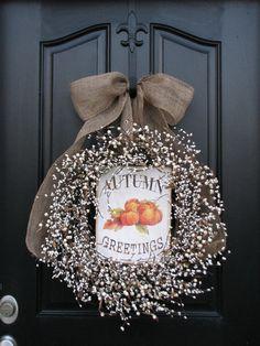 shabby autumn door decorations | Shabby Chic Fall Wreaths - Country Harvest - Pumpkin Wreaths - Autumn ...