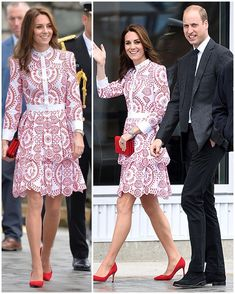 The Duke & Duchess have just landed in Vancouver! Kate is in a bespoke McQueen dress & William in coordinating jacket and trousers  #royalvisitcanada