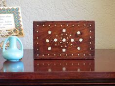 Vintage Wood Box With Dark Stain And A Gold And Pearl Toned Inlaid Pattern…