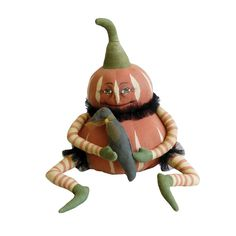 """Gourdy Pumpkin Boy with Crow • Hand painted stuffed fabric pumpkin doll. • Size: 11"""" Tall. • A Joe Spencer of Gathered Traditions design. • Imported."""