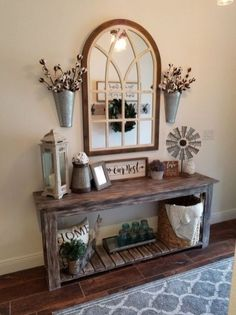 11 Cozy Farmhouse Living Room Decor Ideas That Make You Feel In Village - harian. 11 Cozy Farmhouse Living Room Decor Ideas That Make You Feel In Village - hariankoran Always aspired to learn to knit, n. Rustic Entryway, Farmhouse Entryway Table, Rustic Entry Table, Farmhouse Living Room Decor, Front Entryway Decor, Entry Tables, Entry Table With Mirror, Rustic Room, Rustic Living Room Furniture