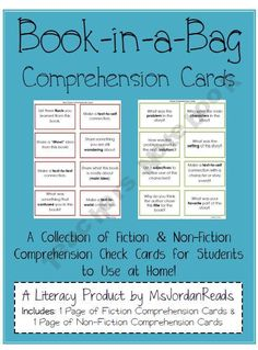 Comprehension Question Cards for Take-Home Books. Repinned by SOS Inc. Resources @sostherapy.