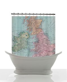 Vintage Map of England Shower Curtain  - Vintage Map Great Britain - Home Decor -England, Ireland, Scotland, Wales Bathroom - maps - Decor