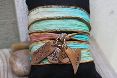 So beautiful! ~*~ Hand Stamped Hand Dyed Silk Wrap Bracelet by StampedFrosting, $40.00