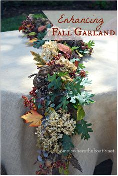 Enhancing fall garland~ marrying natural materials with artificial, for your table or mantle @ Home is Where the Boat Is #fall