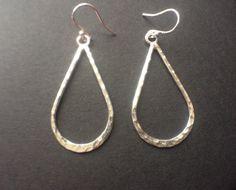 Sterling Silver Teardrop Long Dangle Earrings Beaten Silver Teardrop Hoop Earrings Jewellery Gift by MairiJewellery on Etsy