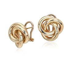 Oversized Love Knot Stud Earring in 14k Yellow Gold | Perfect For Fall