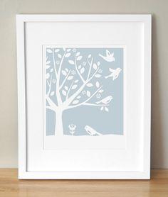 Nursery Art Print  CUSTOM COLOR  Peaceful Tree Birds by sugarfresh, $30.00