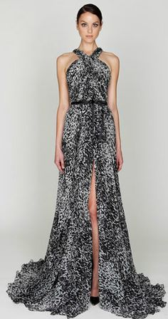 9a93ffe789a Monique Lhuillier Pre-Fall 2012 Black White printed chiffon rushed bodice  gown with front center split.