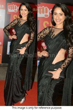 Bollywood Actress Pragya Jaiswal Satin Silk Saree in Black color