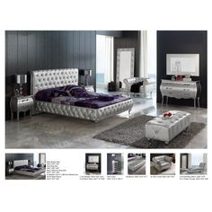 Lorena Bedroom Set in Silver by ESF