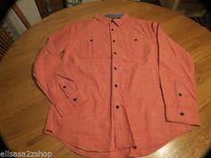 Mens Modern Amusement button up shirt CROW RARE long sleeve L lg orange