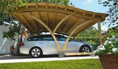 unique carport designs | Awesome And Unique Carports Design With Wave Style Wooden Roof That ...