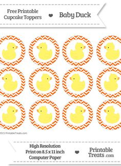 Free Safety Orange  Chevron Baby Duck Cupcake Toppers