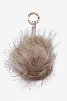 Plush One Faux Fur Keychain - Gray
