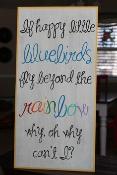 Over the Rainbow Bluebirds Fly Wood Sign by SpoonfulofSassy, $30.00