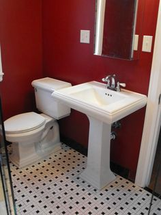 Red And Black Bathroom Design Ideas Interior Design Bathroom Red Black Bathroom Sets, Red Bathroom Decor, Black White Bathrooms, Bathroom Pictures, Bathroom Colors, Bathroom Ideas, Red Bathrooms, Bathroom Things, Modern Small Bathrooms