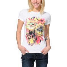 If you're hip and you know, don't be afraid to show it with the A-Lab Damn Cute tee shirt for girls. This White crew neck tee shirt from A-Lab has a graphic at the front of three kittens wearing hipster glasses and Gold chains in front of a floral print background to keep your look adorable.