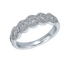 Such a beautiful ring!  Would love this for proposal <3 14kt White Gold 1/2ct TW Round Diamond Milgrain Band by @Helzberg Diamonds Diamonds #diamonds #ring #jewelry