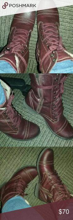 STEVE MADDEN BURGUNDY COMBAT BOOTS 6 Like new condition,  worn a few times! Steve Madden Shoes Combat & Moto Boots