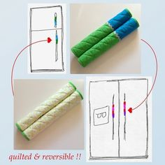 reversible fridge handle covers - blue green sold by AdorableMay. Shop more products from AdorableMay on Storenvy, the home of independent small businesses all over the world. Easy Sewing Projects, Sewing Hacks, Fridge Handle Covers, Crochet Kitchen Towels, Diy Candles Easy, Eat Pray Love, Pen Doodles, Silhouette Designer Edition, Mason Jar Candles