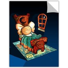 Luis Peres Kids In Bed 1 inch Removable Wall Art Graphic, Size: 18 x 24, White