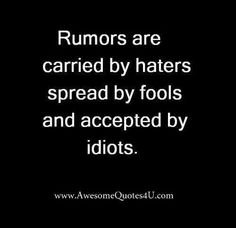 Rumors are carried by haters spread by fool and accepted by idiots.