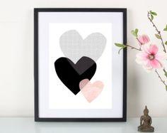 Artprint / 3 Herzen By : Eulenschnitt Free Poster Printables, Printable Wall Art, Photo Wallpaper, Cool Wallpaper, Origami Hummingbird, Kids Prints, Art Prints, Little Nice Things, Art Projects