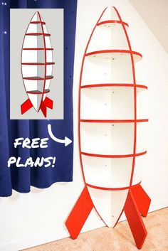 This rocketship bookshelf is perfect for a space themed bedroom! Get the free woodworking plans and start building! | plywood project | woodworking | kids room | playroom