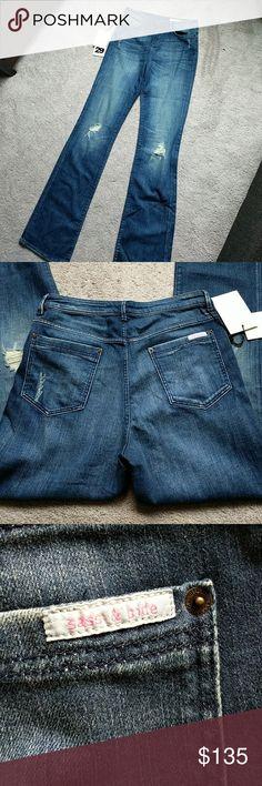 """Sass & Bide Bootcut Jeans 14.75"""" waist, 34"""" length.  11"""" high rise Distressed knees sass & bide Jeans Boot Cut"""