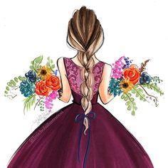 "10.8k Likes, 40 Comments - Holly Nichols (@hnicholsillustration) on Instagram: ""Floral series: Harvest hnillustration.etsy.com #autumn #fashionsketch #fashionillustration…"""