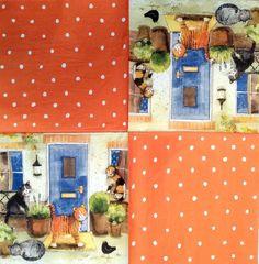 Napkin - Cat for door - Napkins for Decoupage, Decoupage Shop