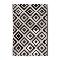 IKEA LAPPLJUNG RUTA Rug, low pile White/black 200 x 300 cm Ideal in your living room or under your dining table since the flat-woven surface makes it easy to pull out the chairs and vacuum.