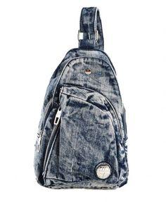 Vintage Denim Messenger Bag with Adjustable Shoulder Strap