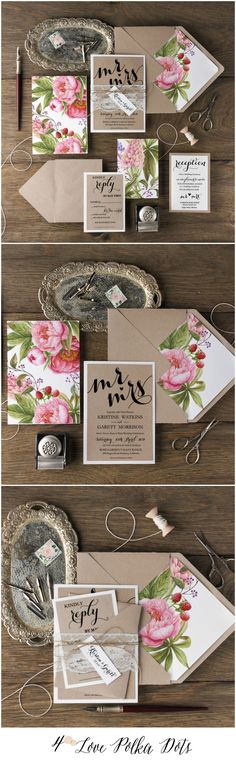 Eco Rustic Lace Wedding Invitations with colorful peonies #sponsored