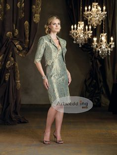 Knee Length Allover Lace Sheath Mother of the Bride Dress with Jacket